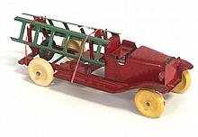 Wyandotte pressed steel fire truck - very good with light play wear