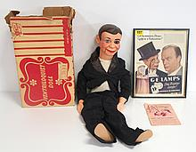 Juro's Charlie McCartney Ventriloquist doll with G.E. advertising poster - both in great condition, box is rough