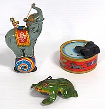 (3) Tin litho wind-up toys - Circus Elephant (works), Frog (does not work) & Magic Mouse Bank (works)