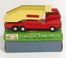 Japanese friction toy Hydraulic Dump Truck with original box - near mint