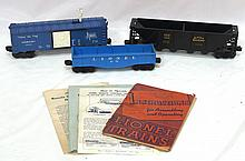 Box lot: 3 pcs Lionel rolling stock & misc. paper