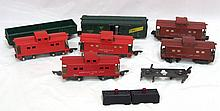Box lot: 7 pcs American Flyer rolling stock, 2 control buttons, 2 pcs paper