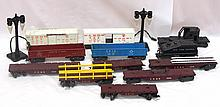 Box lot: 12 pcs Marx rolling stock & 2 street lights