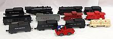 Box lot: Marx 10 pcs rolling stock, 2 locomotives & hand car - sold as is
