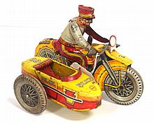 Marx tin litho wind-up Police Motorcycle - works! good condition