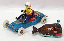 (2) Tin litho toys: Japanese Billy the Ball Blowing Magic Whale wind-up & Rosco Go-Cart with light-up wheels - whale is very good with minor scratches & ball missing