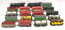 16 pcs Marx tin rolling stock & 2 plastic locomotives - not all perfect
