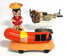 Plastic Oscar Meyer Wienermobile bank (VG), plastic Rotary Engine with stand (G), plastic wind-up girl with spinning hat