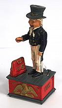 Cast iron Uncle Sam mechanical bank, age unknown