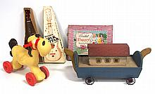 Child's Bridal Party Sewing Set, handmade Noah's Ark with animals, folk guitar with box & plastic Worcester riding horse