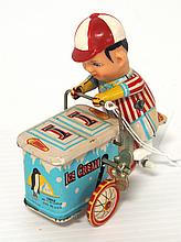 Japanese tin litho wind-up Ice Cream Delivery Boy - near mint
