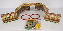 Marx tin litho Circus Set with accessories - great with 1 crack in plastic ring