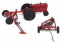 (3) Cast farm toys: tractor, mower & rake - very good condition