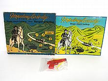 Tin litho Melmar Hopalong Cassidy Target Game complete with gun & darts - box is rough, toy is great