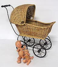 Wicker doll carriage - good condition with wear