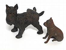 (2) Cast iron dogs, age unknown