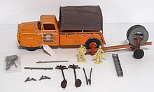 Lumar tin litho Public Utility Service truck with accessories & trailer - a few small pieces broken, great condition