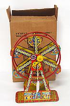 J. Chein tin litho Carnival Ferris Wheel with original box - box & toy very good condition but toy does not work