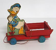 Fisher Price No.500 wooden Donald Duck pull toy - good condition