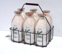 (6) Krauss dairy bottles with carrier
