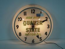 Light-Up Quaker State Motor Oil Clock