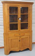 Tiger Maple Corner Cupboard, Circa 1870