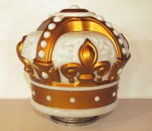 NOS Glass Gold Crown globe