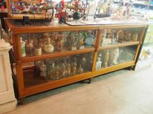 Oak & glass country store cabinet