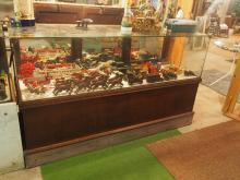 Wood & glass country store display cabinet