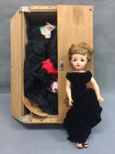 Vintage Little Miss Revlon doll with cabinet filled with clothing