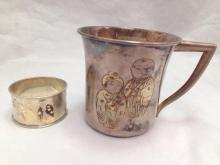 Silver cup and matching napkin ring, 100.6g