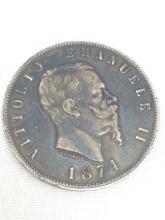 1874 Vitorio Emanuel II Coin