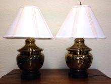 Pair of Asian design brass lamps
