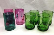 4 Blenco glasses and three art glass drinking glasses