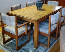 Oak Dining table with 6 Chairs and Leaf