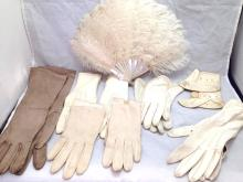 Antique Mother of Pearl and feather fan, 5 pair vintage kid gloves, 1 pair baby leather booties