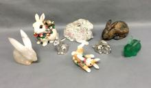 Lot of 8 Easter bunny rabbits, some signed. Porcelain, glass, alabaster
