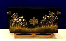 Asian black lacquered chest with hand painted decoration, 1930s