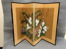 Chinese hand-painted silk screen with floral design, signed and inscribed