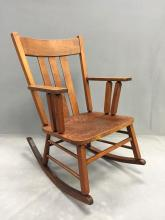 Arts and Crafts style antique American wood golden oak rocking chair