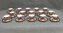 Set of 15 Ralph Lauren Wedgewood English porcelain teacups and saucers
