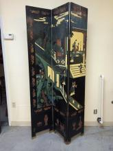 Very large Asian, Chinese or Japanese wood screen with carved and hand painted decorations