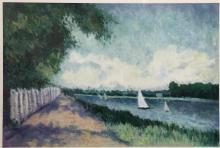 Beautiful Impressionist oil on artist's board landscape painting by local Santa Cruz, California artist Sally Reed