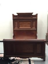 East Lake Victorian hand-carved bed frame, modified to fit the length of a queen but it is the witdth of a double