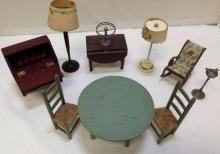 10 Pieces of antique and collectible doll house furniture
