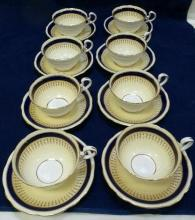 Set of 8 Aynsley, Cobalt Blue, gold & cream, cup saucer, number 7301