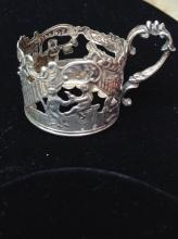 European antique sterling cup holder,  marked 835