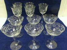 11 pieces of etched glass stemware, ca 1930's