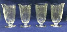 4 Etched glass, tea glasses, ca 1930's