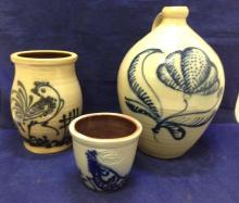 3 Pieces Salt Glazed,1980's Wisconsin Pottery, excellent condition